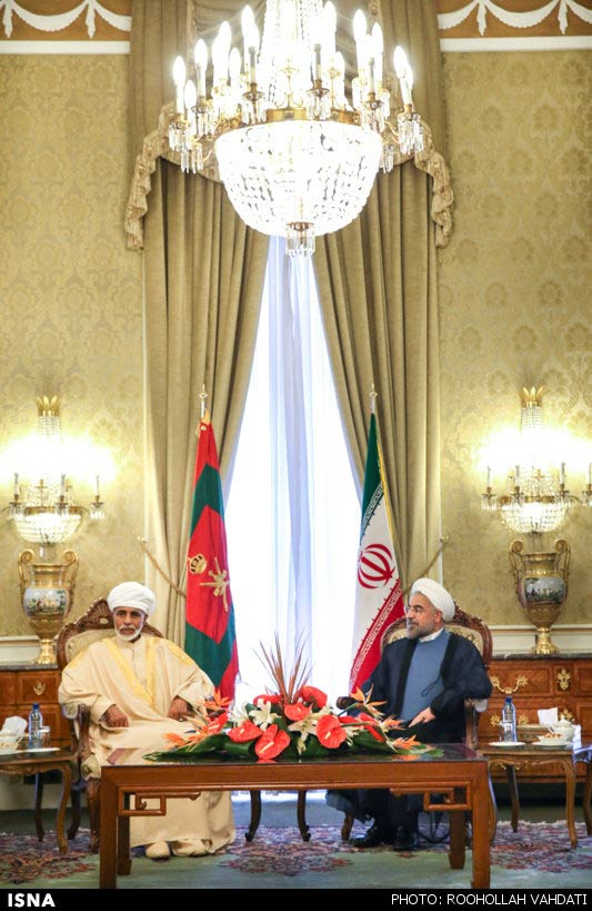 SPLENDOR — President Rohani (right) receives Omani Sultan Qaboos in royal splendor not seen in Tehran in recent decades.  Qaboos is the first chief of state to visit Iran since Rohani became president.  Media rumors said Qaboos was coming with an offer from President Obama, but officials quickly scotched that idea.