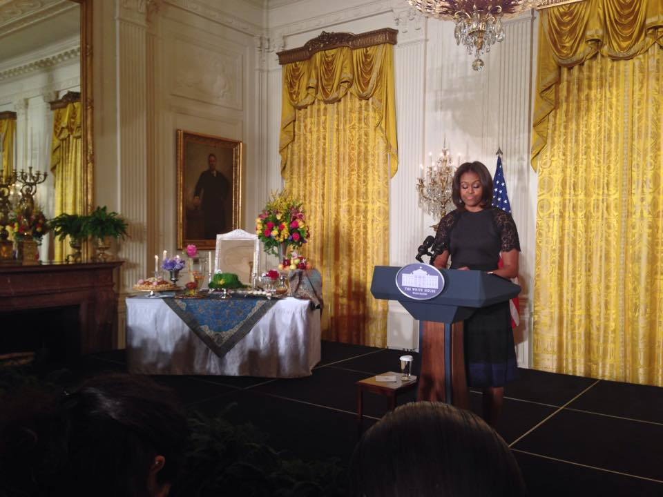 NEW YEAR — Michelle Obama tried a few words of Farsi as she welcomed an enthusiastic crowd to the White House and showed off her Haft Seen table.