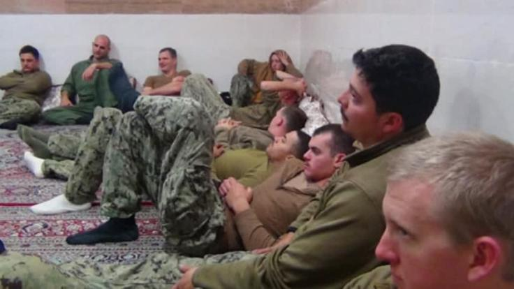 Iran releases 10 U.S. sailors held overnight after crossing into Iranian waters by mistake. Rough cut (no reporter narration).