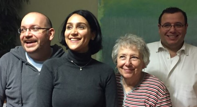 BACK TO THE PRESENT — Recuperating at a US Army base in Germany are, from left, Jason Rezaian, his wife, Yeganeh Salehi, his mother, Mary, who were in Iran while Jason was in jail, and his brother, Ali.