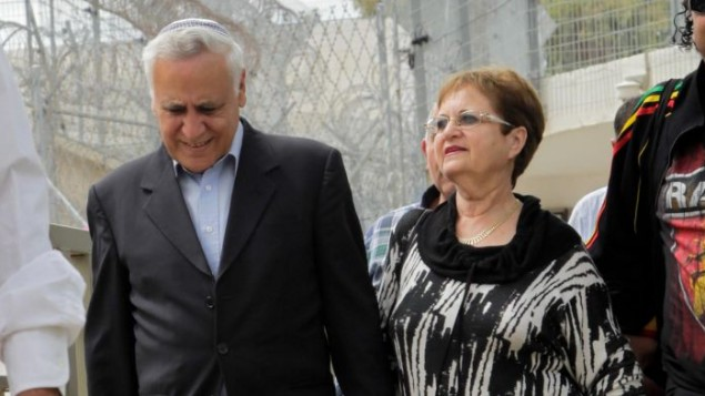 Moshe Qatsav was seen in public last year with his wife when he got a furlough.