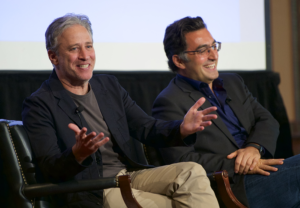 "INTERROGATION — ""Rosewater"" director Jon Stewart (left) and and subject Maziar Bahari were interviewed together as the film was being released."