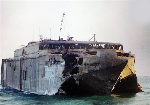 STRUCK — This is the UAE Navby's catamaran after it was hit by a missile.  Iran said it was sunk.