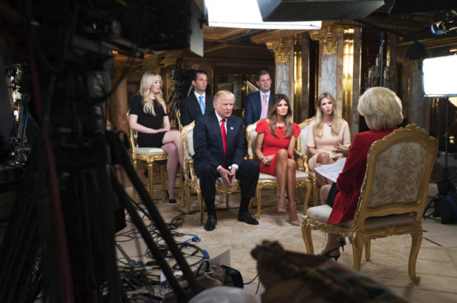 "FIRST FAMILY — Lesley Stahl (far right) of ""60 Minutes"" interviewed the president-elect and his family.  From left, Tiffany, Eric, Donald sr., Donald jr., Melania and Ivanka.  Ten-year-old Baron didn't appear."