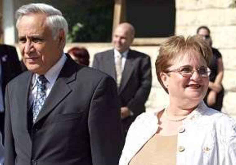 RELEASE NOW PLANNED — Former Israeli President Moshe Qatsav (left)  is seen with his wife before he was sent to prison for rape.