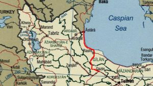 MISSING LINKS — The thin red line shows the rail link from Qazvin to the Azerbaijani border.